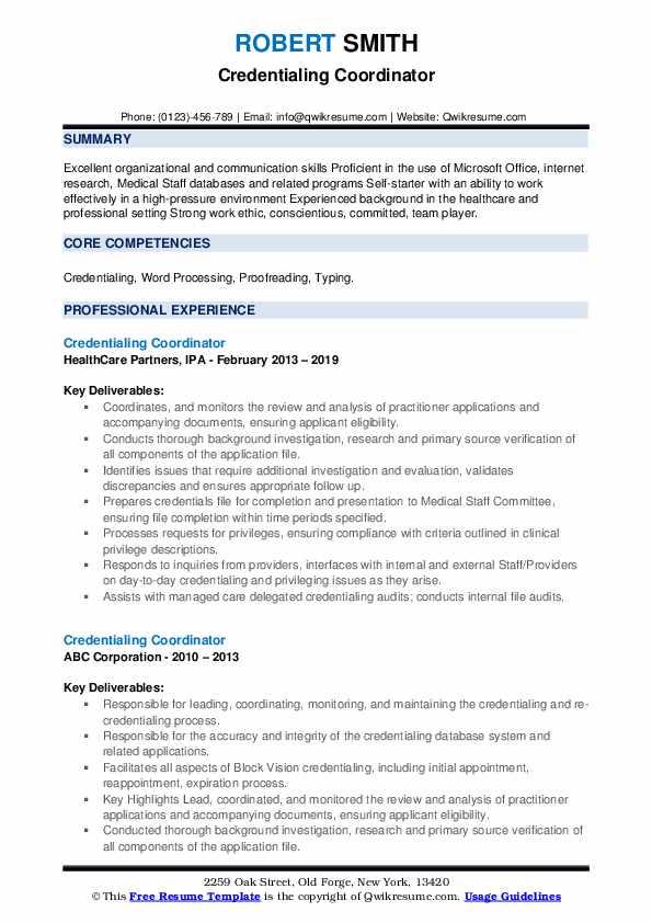 Credentialing Coordinator Resume example
