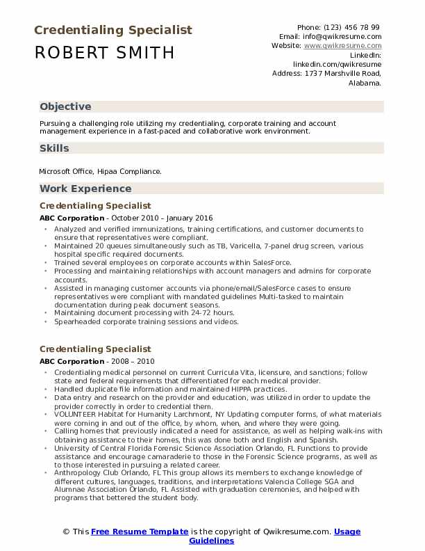 Credentialing Specialist Resume Format