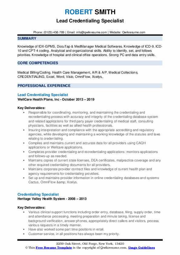 Lead Credentialing Specialist Resume Sample