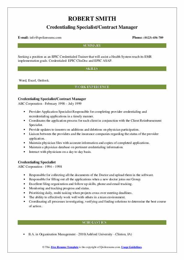 Credentialing Specialist/Contract Manager Resume Sample