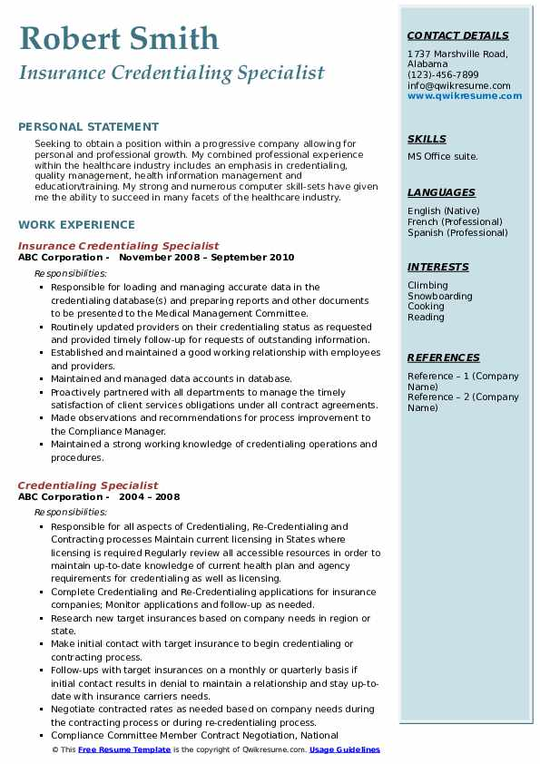 Insurance Credentialing Specialist Resume Model