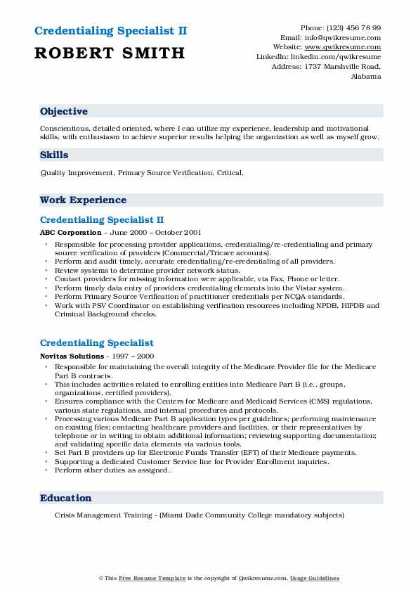 Credentialing Specialist II Resume Example