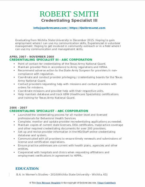 Credentialing Specialist III Resume Example