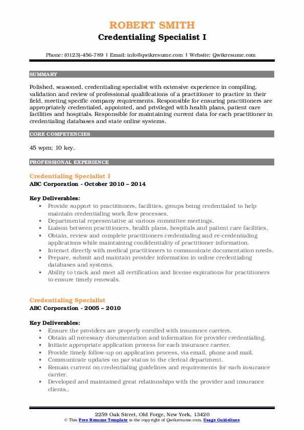 Credentialing Specialist I Resume Format