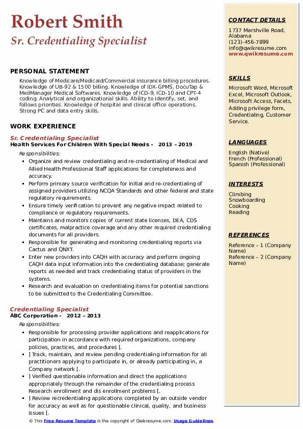 Sr. Credentialing Specialist Resume Example