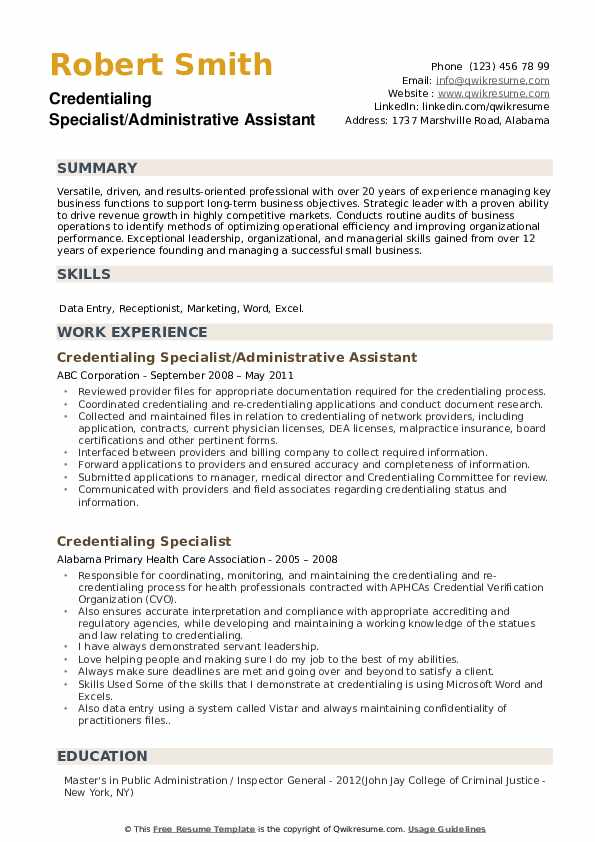 Credentialing Specialist/Administrative Assistant Resume Example