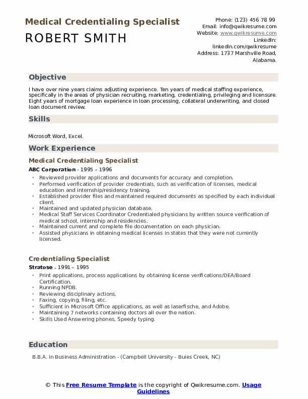 Medical Credentialing Specialist Resume Template