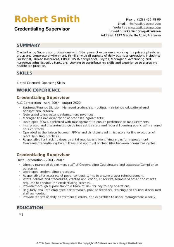 Credentialing Supervisor Resume example