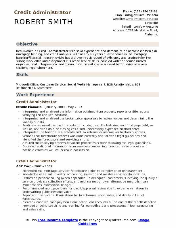 credit administrator resume samples