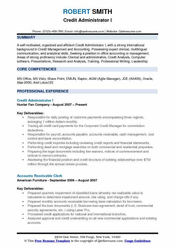 Credit Administrator I Resume Format