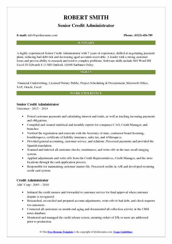 Senior Credit Administrator Resume Template