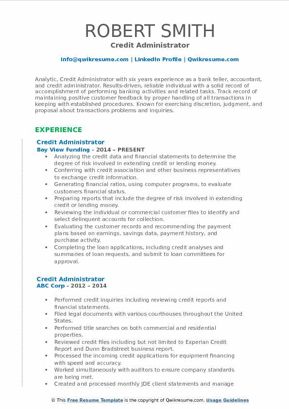 Credit Administrator Resume Template