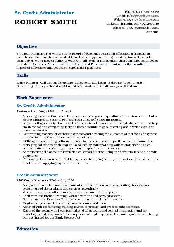 Sr. Credit Administrator Resume Format