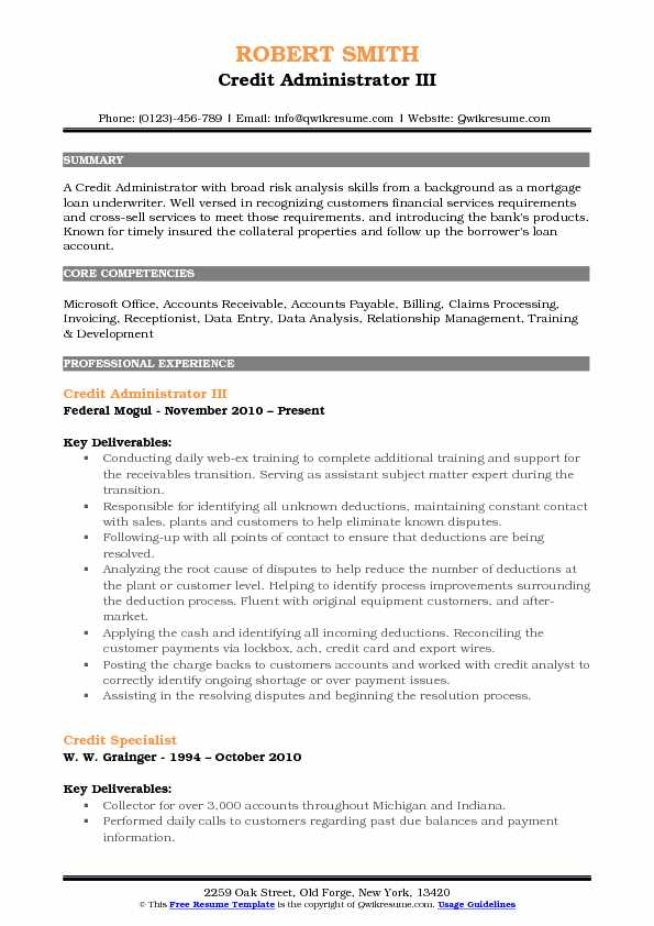 credit administrator resume samples qwikresume