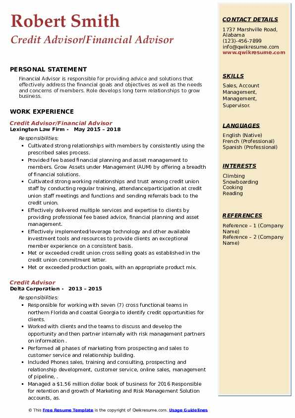 Credit Advisor Resume example