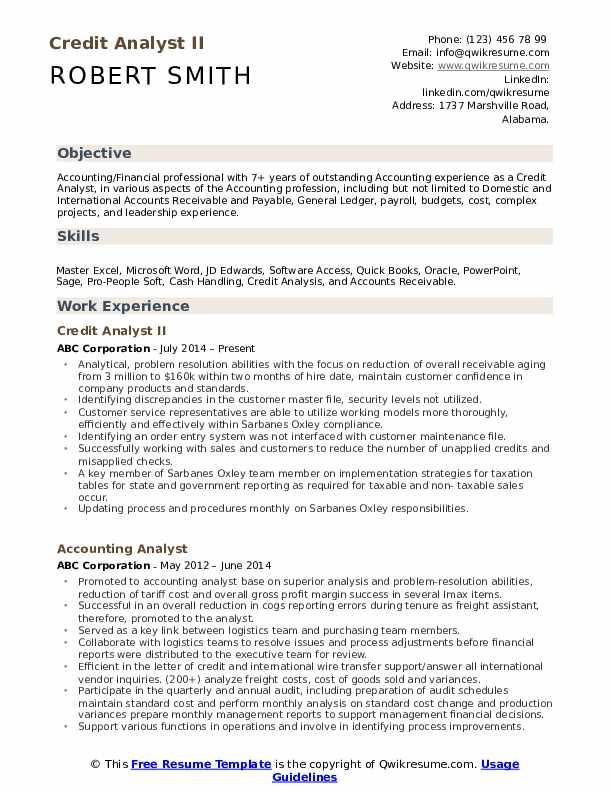Credit Analyst II Resume Model