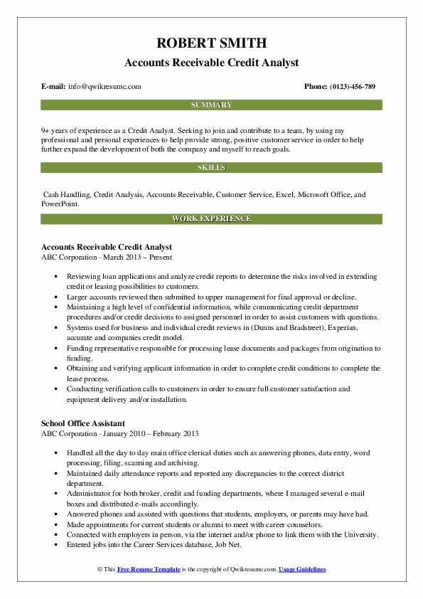 Accounts Receivable Credit Analyst Resume Model
