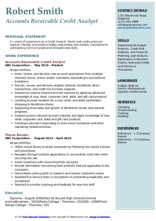 credit analyst resume samples