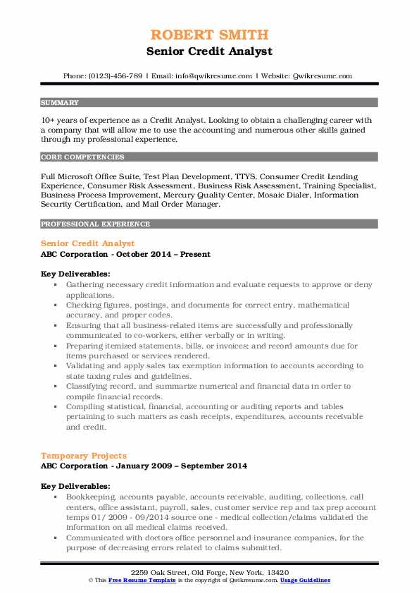 Credit Analyst Resume Samples | QwikResume