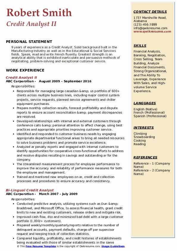 Credit Analyst II Resume Example