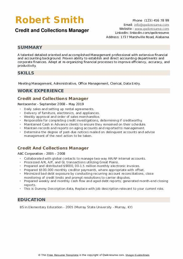 Credit And Collections Manager Resume example