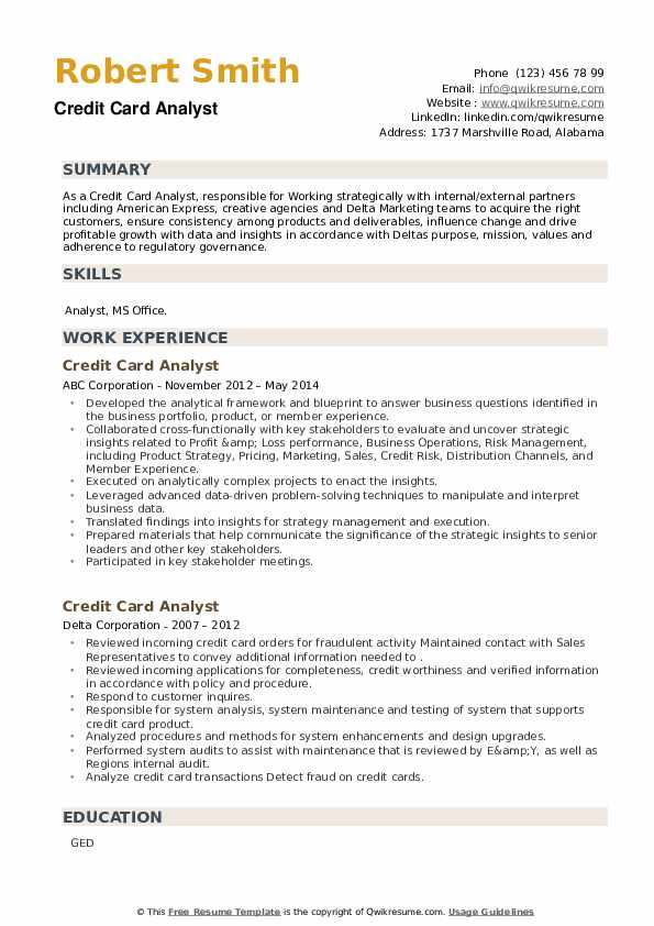 Credit Card Analyst Resume example