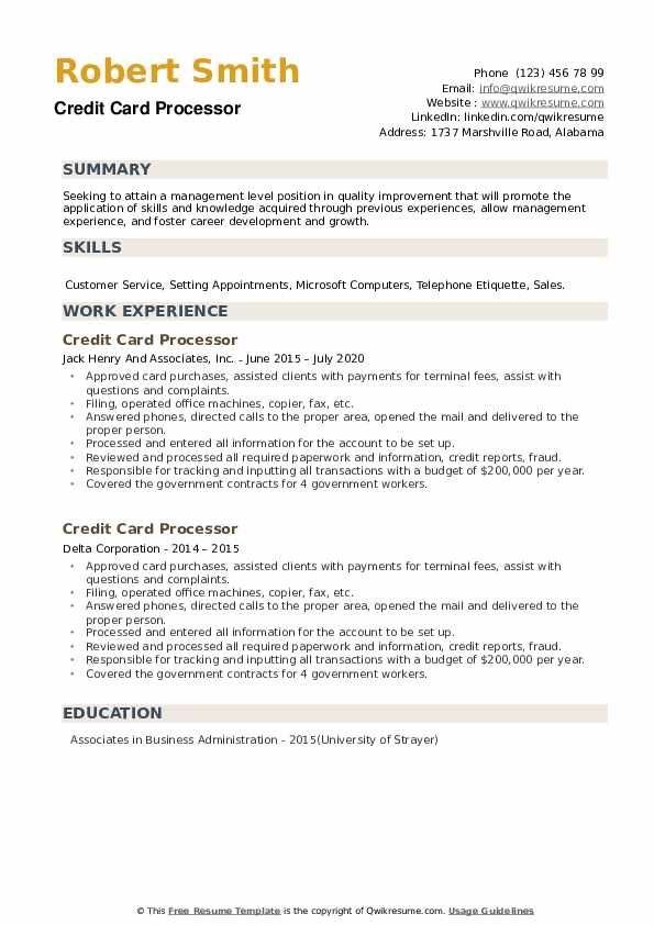 Credit Card Processor Resume example