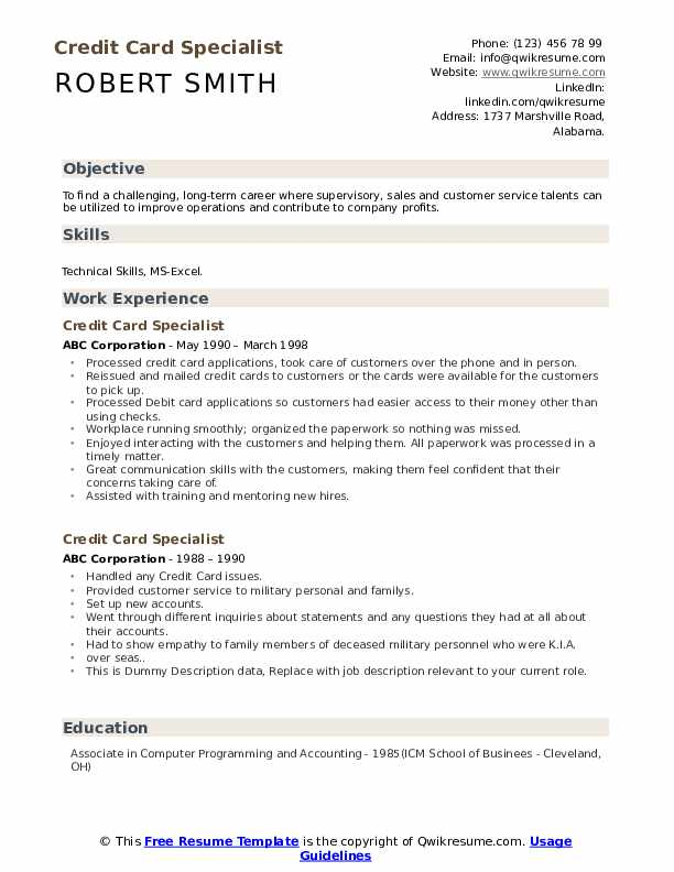 Credit Card Specialist Resume example