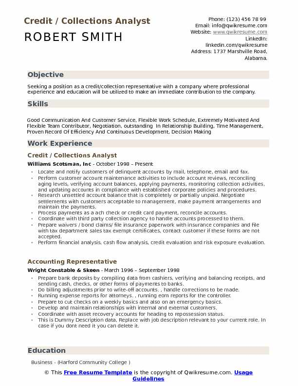 Credit Collections Analyst Resume Samples | QwikResume