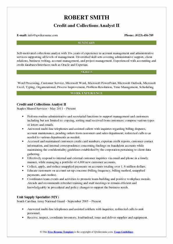 credit collections analyst resume samples