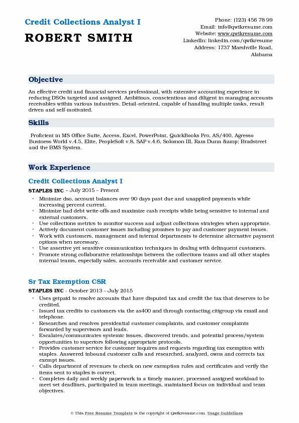 Debt Collection Agency >> Credit Collections Analyst Resume Samples | QwikResume