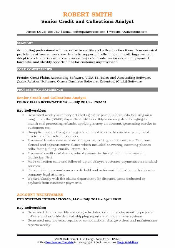 Senior Credit And Collections Analyst Resume Sample  Accounting Analyst Resume