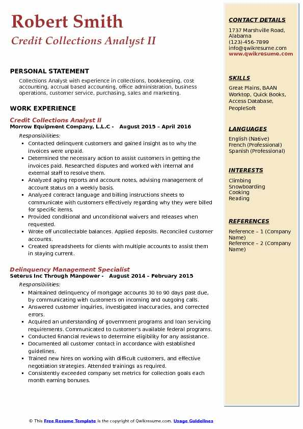 Credit Collections Analyst II Resume Sample