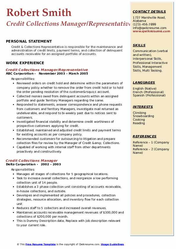 credit collections manager resume samples  qwikresume