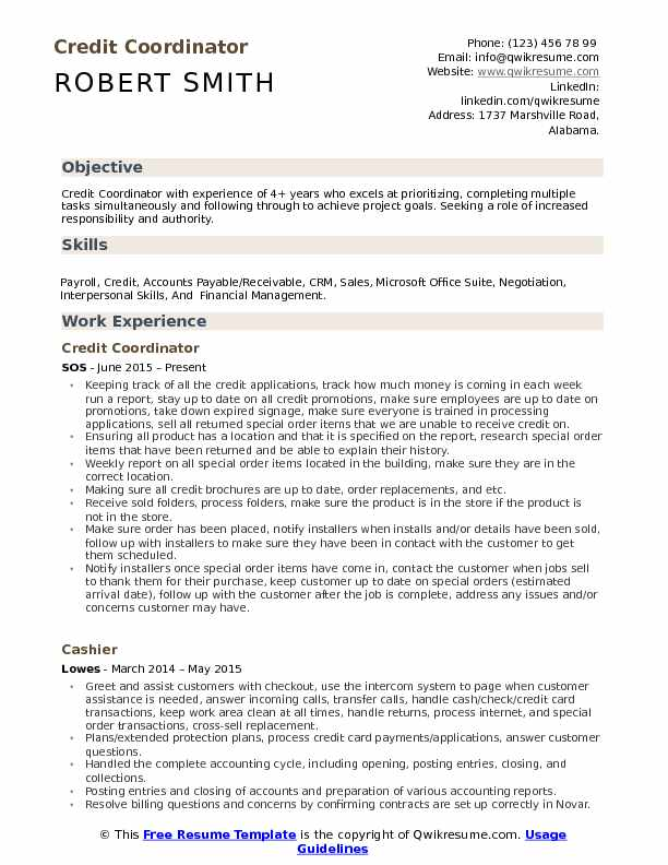Credit Coordinator Resume Template