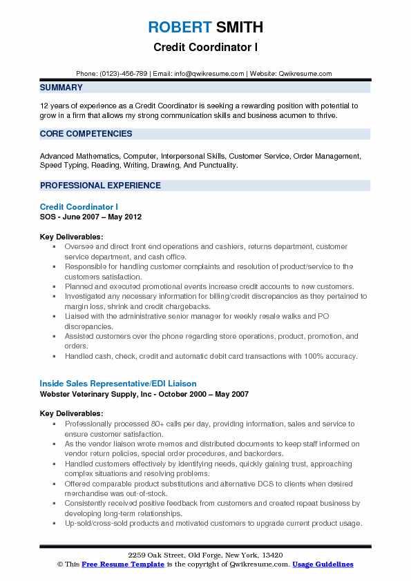 credit coordinator resume samples
