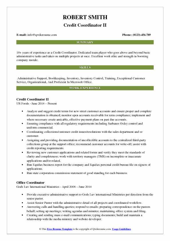 Credit Coordinator II Resume Sample