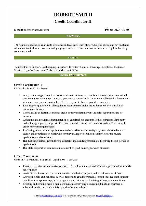 Credit Coordinator II Resume Model