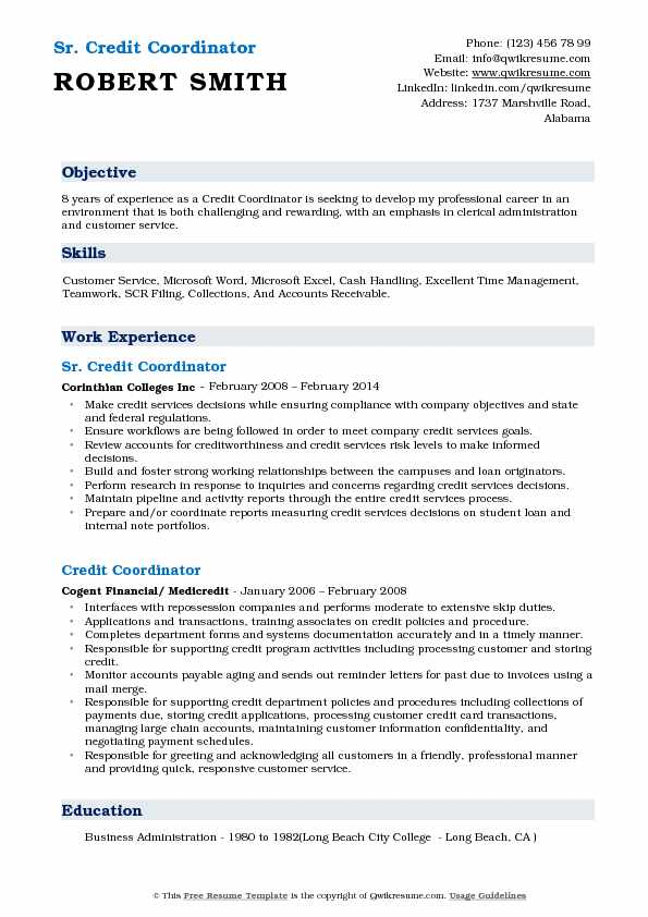 Sr. Credit Coordinator Resume Sample
