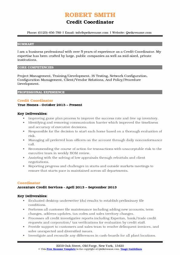 Credit Coordinator Resume Example