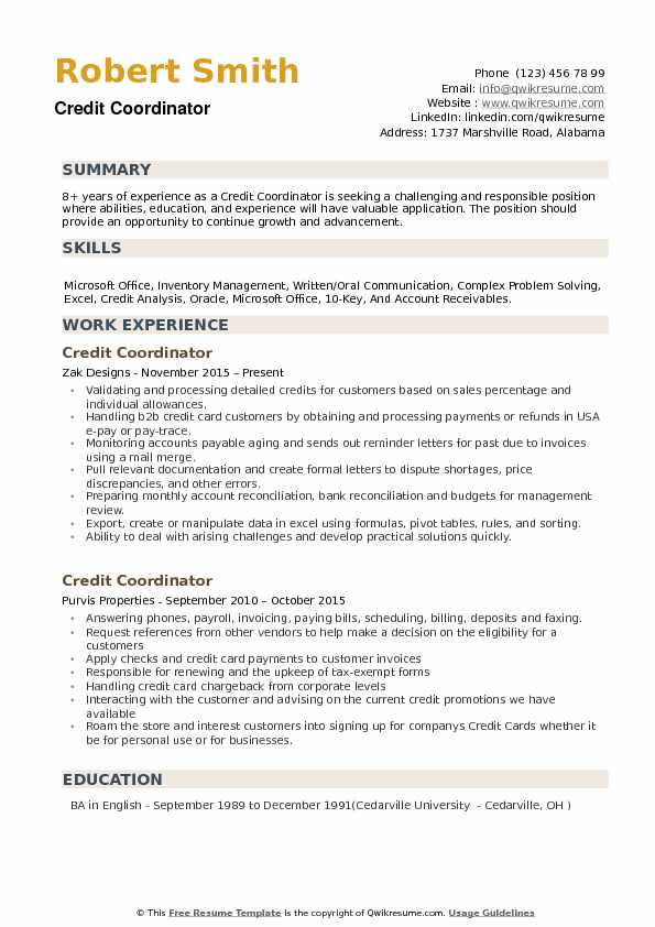 Credit Coordinator Resume Samples Qwikresume