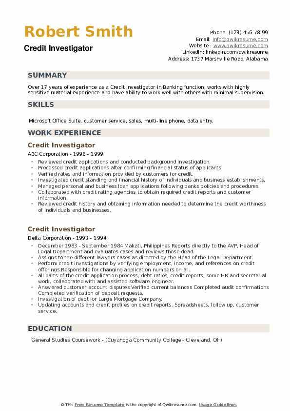 Credit Investigator Resume example
