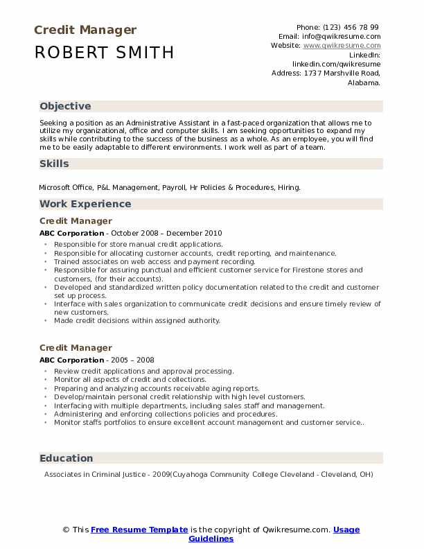 Credit Manager Resume Format