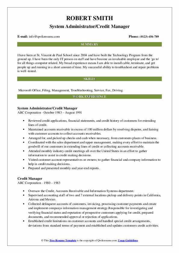 System Administrator/Credit Manager Resume Template