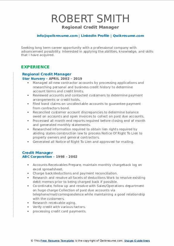 Regional Credit Manager Resume Sample