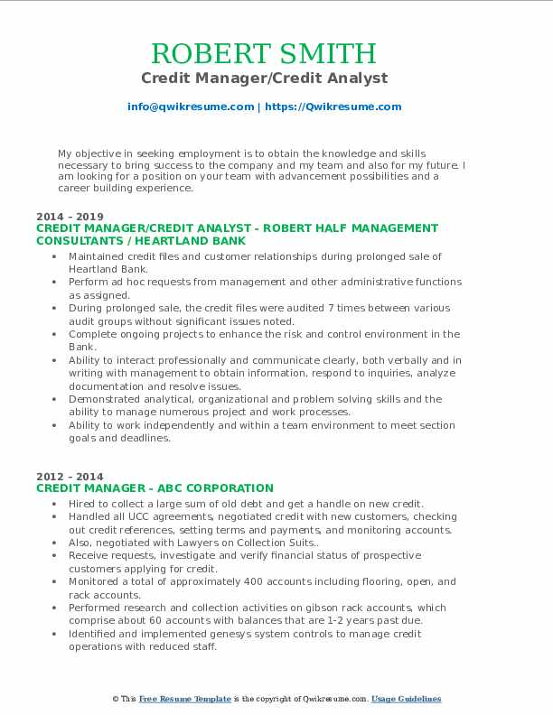 Credit Manager/Credit Analyst Resume Template