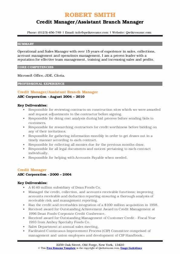 Credit Manager/Assistant Branch Manager Resume Format