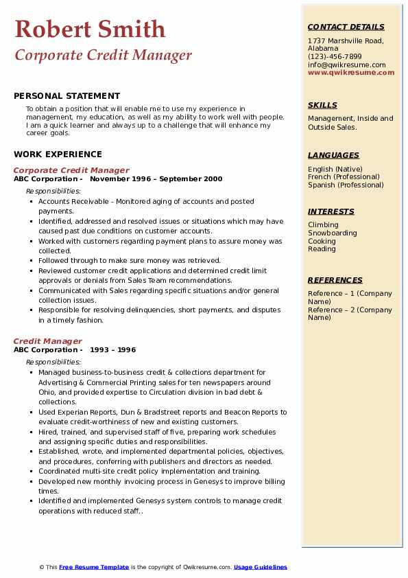 Corporate Credit Manager Resume Example