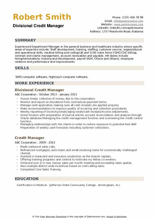 Divisional Credit Manager Resume Sample