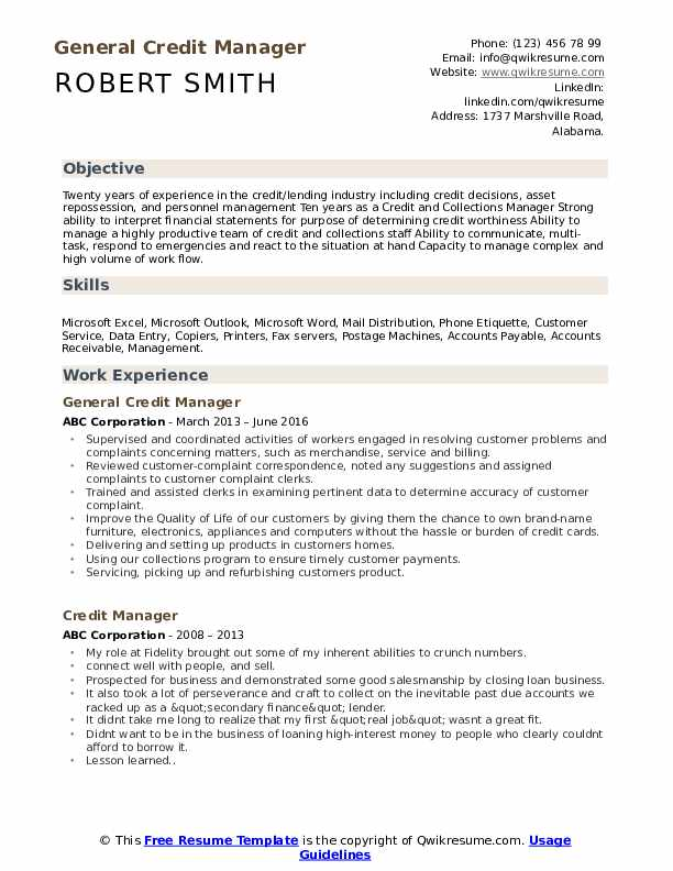 General Credit Manager Resume Model